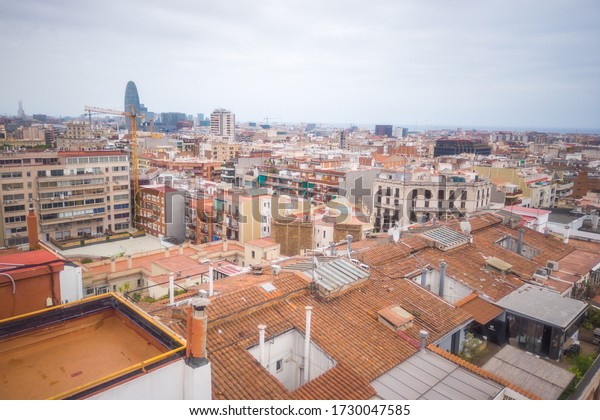 Aerial view  of buildings in Barcelona downtown, Eixample. Spain. Drone Photo