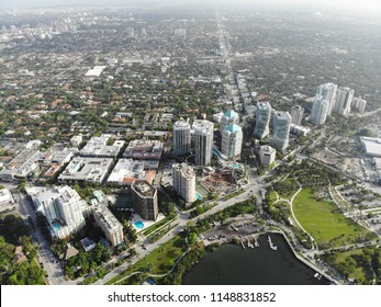Aerial view of buildings in Coconut Grove, Florida