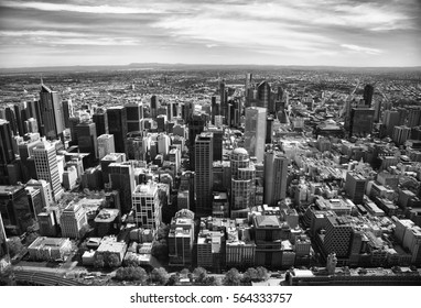 Aerial view of buildings of Downtown Melbourne, Victoria, in Australia.  Black and white