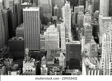 Aerial view of buildings in Mid-Manhattan, New York City. Toned.
