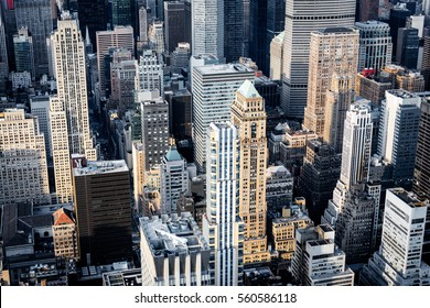 Aerial view of buildings in Mid-Manhattan, New York City.