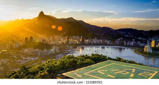 Aerial view of buildings on the beach front, Botafogo, Guanabara Bay, Rio De Janeiro, Brazil