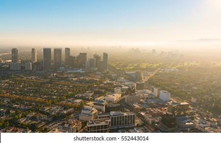 Aerial view of buildings on Wilshire Blvd in Westwood, Los Angeles, CA