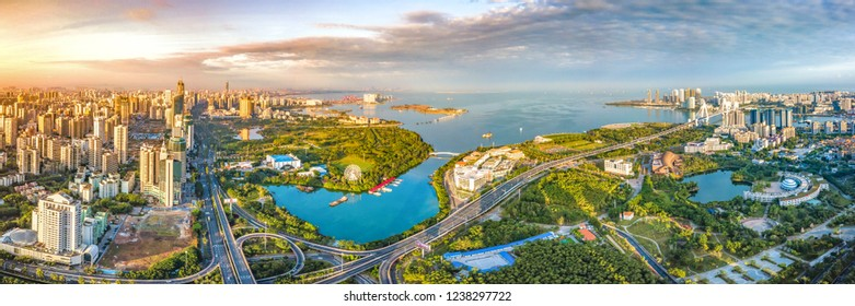 Aerial View of Buildings and Parks in Binhai Central Business District and Parks of Haikou City in Hainan Island of China