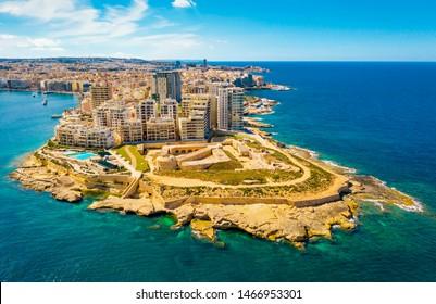 Aerial view of buildings in Sliema front. Malta. Mediterranean sea