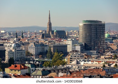 Aerial view of buildings and St. Stephen's Cathedral on background in historic part of Vienna, Austria.