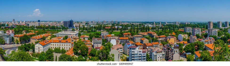 Aerial view of the Bulgarian city Plovdiv