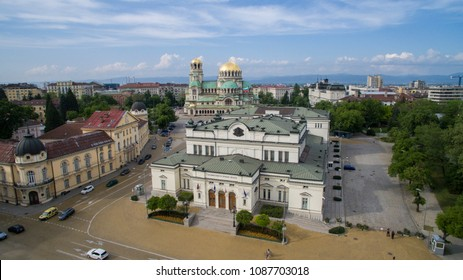 Aerial view of the Bulgarian Parliament, May 1, 2018, Sofia, Bulgaria