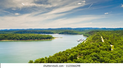 Aerial view of Bull Shoals lake located near Branson Missouri.