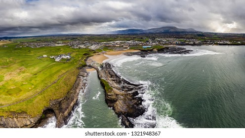 Aerial view of Bundoran cost line at the wild Atlantic way in Donegal, Ireland.