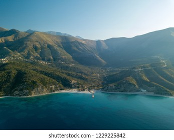 Aerial view of Bunec Beach in Piqeras, Albania near Saranda, Albanian Rivieria
