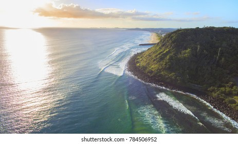 Aerial view of Burleigh Heads Gold Coast at sunrise