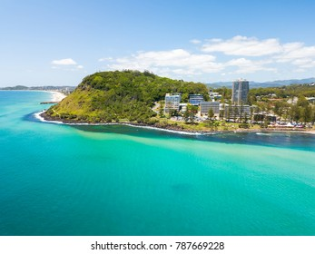 An aerial view of Burleigh Heads on the Gold Coast in Queensland, Australia