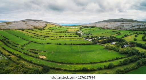 Aerial view of The Burren in Ireland. The Burren is a region dominated by glaciated karst landscape and it is located in northwest County Clare.