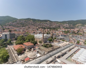 Aerial View of Bursa Grand Mosque/Ulu Cami is largest mosque in Bursa,Turkey. - Shutterstock ID 1474860443