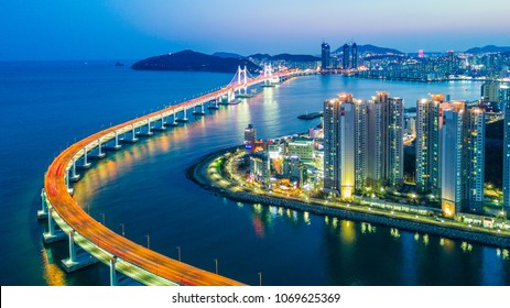 Aerial view busan gwangandaegyo bridge or gwangan bridge and busan city skyline, Haeundae district, Gwangalli Beach, Busan, South Korea.