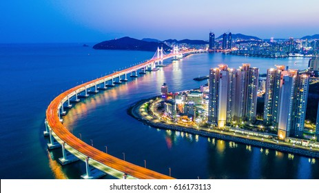 Aerial view Busan Gwangandaegyo Bridge or Gwang An Bridge at night, Busan, South Korea.