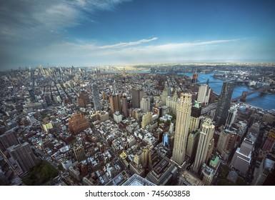 Aerial view of business center of Manhattan skyline, New York City