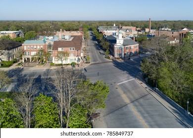 Aerial view of a business district during an early spring morning in a suburban setting outside Chicago. Winnetka, IL. USA