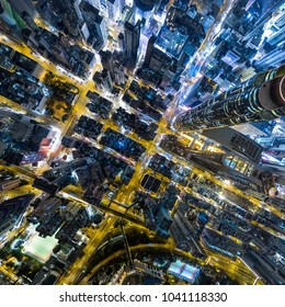 Aerial view of business district of Hong Kong at night