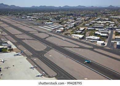 Aerial view of busy Scottsdale, Arizona Airport