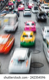 aerial view of busy traffic in Bangkok, Thailand, in motion blur