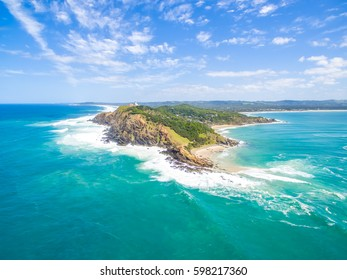 An aerial view of the Byron Bay lighthouse, a popular tourist destination in Australia. Byron Bay is also Australia's most easterly point.