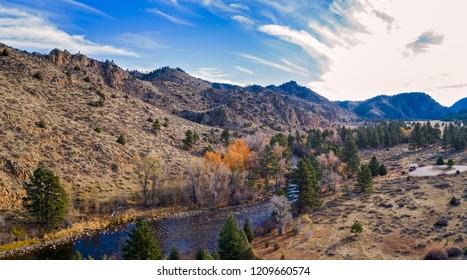 Aerial view of the Cache La Poudre River in Colorado