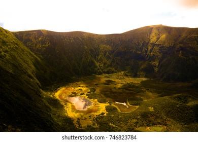 Aerial view to Caldeira do Faial at Faial island, Azores, Portugal