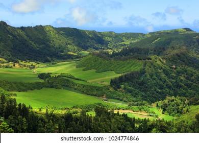 Aerial view of Caldeira Seca, Sete Cidades, Sao Miguel Island, Azores, Portugal