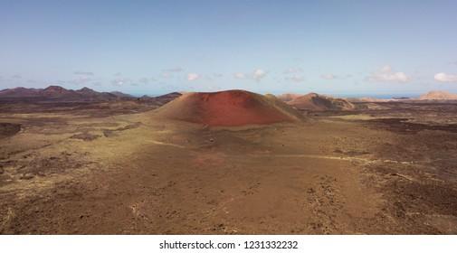 Aerial view Caldera Colorada volcano, lava field with lichens, Lanzarote, Canary Islands, Spain, Europe