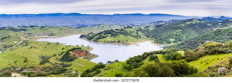 Aerial view of Calero reservoir, Calero county park, Santa Clara county, south San Francisco bay area, California