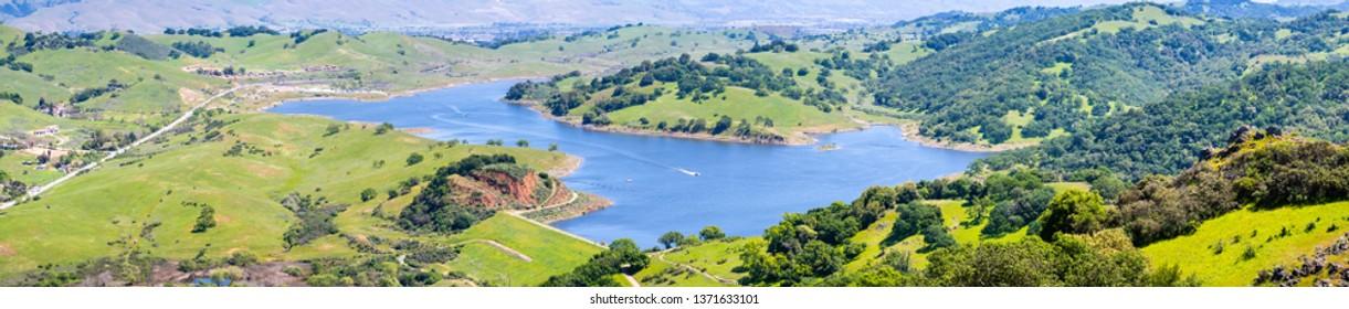 Aerial view of Calero reservoir, Calero county park, Santa Clara county, south San Francisco bay area, San Jose, California