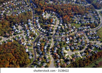 Aerial view of a calm neighborhood in Washington
