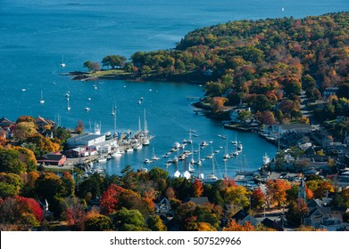 Aerial view of Camden, Harbor Maine with fall foliage