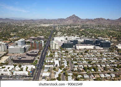 Aerial view of the Camelback corridor financial district in Phoenix, Arizona
