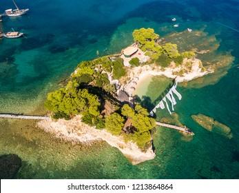 Aerial view of Cameo Island in Zakynthos (Zante) island, in Greece