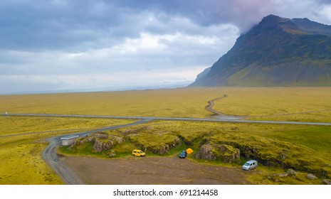 Aerial view of campervan with as a Vatnajokull Glacier background in Iceland