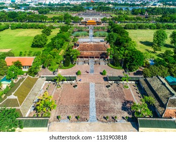 Aerial view of Can Chanh palace and Thai Hoa palace in the Hue Citadel, Vietnam. Imperial Palace moat,Emperor palace complex, Hue Province, Vietnam