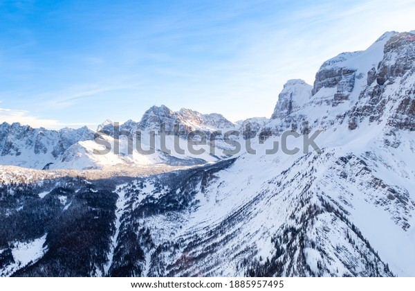 Aerial view of the Canadian rockies mountains in the Banff national park, Canada