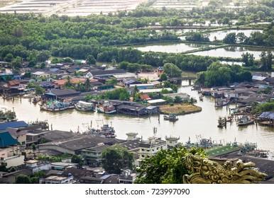 Aerial View Canal Side Town At Chumphon Estuary , Thailand