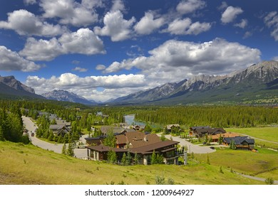 Aerial view of Canmore in canadian Rocky Mountains. Canmore is located in the Bow Valley near Banff National park and one of the most famous town in Canada