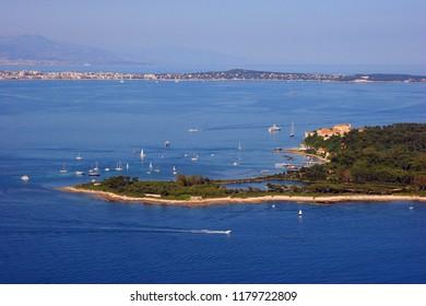 "Aerial view Cannes - ""Lerins islands"" : ""Sainte Marguerite - Cap d'Antibes"""