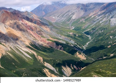 Aerial view of a canyon above the Kaskawulsh River in Kluane National Park, Yukon, Canada