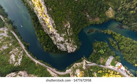 Aerial view - canyon of Cetina river, Omiš, Croatia