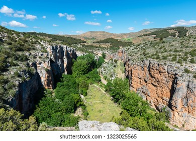 Aerial view of the canyon of the river Mesa in Aragon, Spain.
