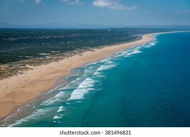 Aerial view of the Caparica coastline near Lisbon, Portugal