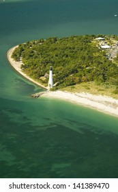 Aerial view of Cape Florida Light in the Key Biscayne, Miami, Florida.