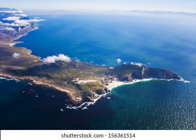 Aerial view of Cape Point with Table Mountain in the distance, Cape Town, South Africa
