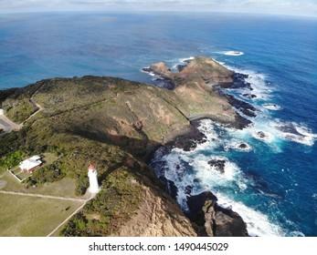Aerial view of Cape Schanck Lighthouse on Mornington Peninsula, Victoria Australia